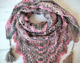 Made To Order/ Crochet Triangle Shawl/ Crochet Wrap Shawl/ Triangle Wrap/ Crochet Women's Shawl/ Autumn Shawl