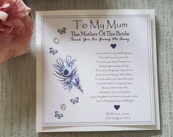 Mother Of The Bride - Thank you for giving me away - Step Mum - From Your Daughter the Bride - Personalised Card