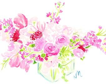 Pink Floral Arrangement Print