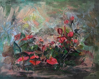 special oly bramson original painting mixed media on canvas hand painted garden painting colorful