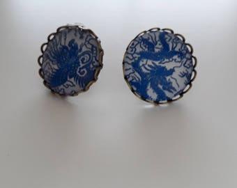 20mn blue flowers vintage bronzes cabochon Stud Earrings