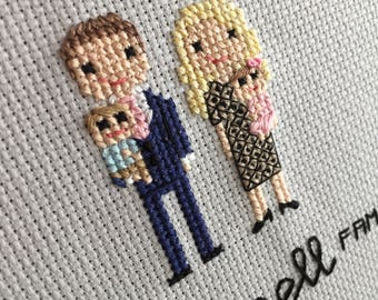 Stitch Family Baby Announcement - Cross Stitch Pregnancy Announcement - Cross Stitch Gender Reveal - Stitch Family - Personalized Baby Gift