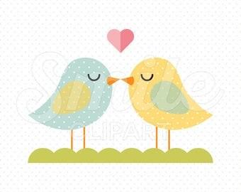 LOVEBIRDS Clipart Illustration for Commercial Use   0091