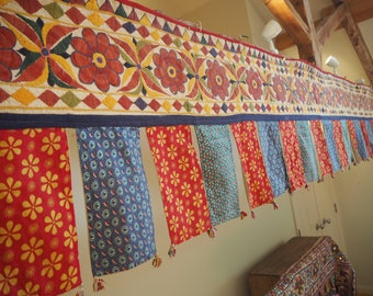 Huge Vintage Indian Holy Antique Gujarat Temple Auspicious Toran Trim Valence Textile Bunting Flag Wall Hanging H