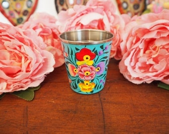 Hand Painted Kashmir Enamelware Gypsy Chai Shot Espresso Cup Hippie Shabby Chic Floral Glamping Camping