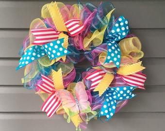 Summer Mesh Wreath, Mesh Wreath,Front Door Wreath, Summer Wreath, Budget Wreath, Ruffle Wreath, Butterfly Wreath, Bright Wreath