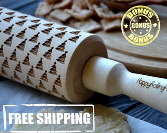Embossing Rolling Pin 4 Size Nice Christmas Trees Modern Winter Happy New Year Engraved Pattern Wooden rolling pin  Engraved pattern baking