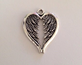 2 Angel Wings Heart Antique Silver Tone Charm