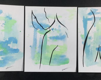 Set of three watercolour and ink paintings