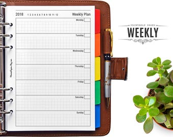 A5 Printable Undated Weekly Planner – Filofax 2018 Week on One Page PDF Printable Refill, Minimalist Wo1P Insert for Kikki K Binder Planner