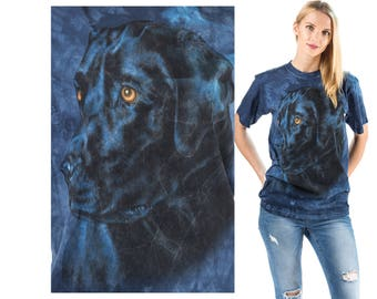 Dog T Shirt 90s Black Lab Animal Print  Shirt Blue Black Tie Dye Graphic Tee Shirt 1990s Vintage Hipster Medium