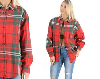 Red Tartan Plaid LUMBERJACK Shirt 70s Thick Wool FLANNEL Jacket Scottish Red Vintage Grunge Vintage Mens Women Button Down Red Green Large
