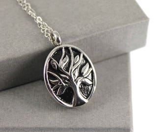 Tree of Life Urn with Birthstone Cremation Necklace , Memorial Jewellery,  Cremation Jewelry, Urn Locket, Cremation Necklace