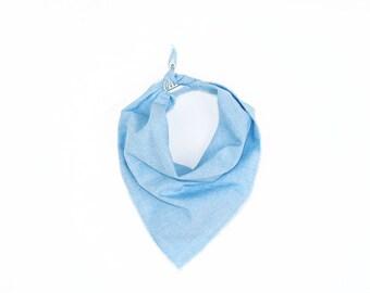 Light Blue Chambray Small Dog Bandana // Scarf // Neckerchief // Neck Tie
