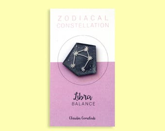 Libra Zodiac constellation brooch-