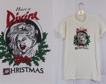 Vintage 1981 Have a Divine Christmas t-shirt John Waters King of Kitsch Drag Queen