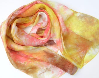 silk scarf, multicolor silk hand dyed silk scarf colorful silk scarf unique silk scarf orange silk scarf scarf red yellow summer silk scarf