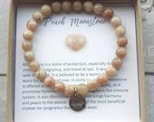 Pregnancy bracelet- fertility bracelet- peach moonstone- gift for pregnancy- healing crystals- invitro gift- trying to concieve gift