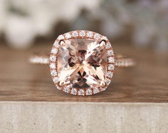 9mm Cushion Morganite Rose Gold Engagement Ring, 10k Rose Gold Morganite,3carats Morganite, Diamond Halo Ring,Diamond Half Eternity Band