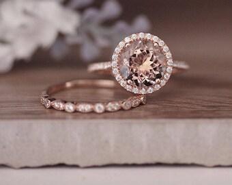 14k Rose Gold Morganite Ring, Engagement Ring, 9mm Round Morganite and Diamond Halo Engagement Ring, Bridal Ring Set, Wedding Band