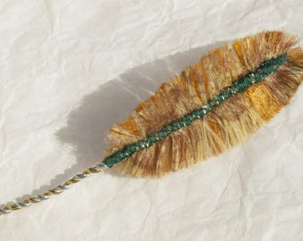 Autumn Woodpecker: Feather textile jewelry, jewelry bags, accessories, decoration...