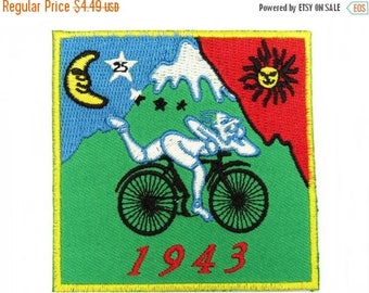 ON SALE Bicycle Day Hofmann LSD 1943 Embroidered Iron On Patch 2.9""