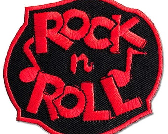 Rock N Roll Rockabilly Red Embroidered Iron On Sew On Patch