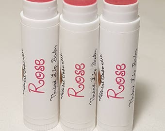 Rose Flavoured Tinted Lip Balm, Vegetarian, 4.3g tube