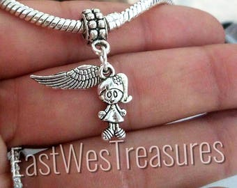 My Baby Girl, Daughter, sister, my angel wings wing charm pendant for European Charm Bracelets & any chain necklace
