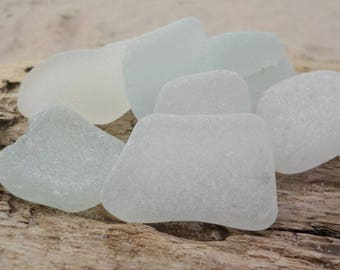 "8 Genuine Perfectly smoothed White Sea glass-Thick-0,9-1,3""- Jewelry quality- Ring, Earrings and Pendant size#J20#"