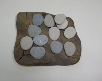 "12 Beach Stones 1.4-1.5""/3.5-3.9 cm  Flat Beach Stones - Flat Sea Stones - Decorative Beach Finds #26"