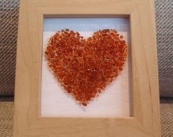 Garnet Fused glass love heart