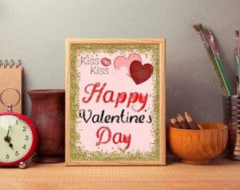 Kiss Kiss, Happy Valentine's Day, Printable Wall Print, Instant Download, Digital Art Print
