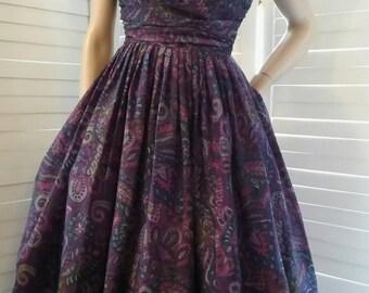 Purple and violet paisley cotton sundress size aus 6-8.