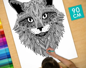 Poster / Poster deco coloring (90cm) majestic cat - coloring for adults