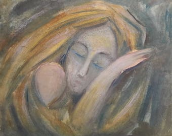 Original Painting, Pastel and Watercolor, Beayty's Dream, Odessa artist, European Fine Art