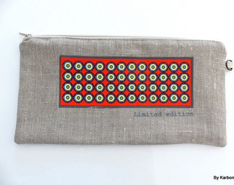 orange and yellow pattern pouch