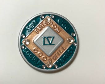 NA Medallion, Recovery Medallion in Silver Turquoise and Rose Gold , Custom Medallion, Recovery Gift for Sobriety Anniversary, NA Symbol