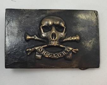 Bronze Belt Buckle / Death or Glory / Pirate Metal