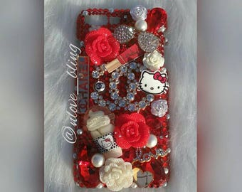 iPhone 7+ Red Gems & Pearls Luxury Bling Case