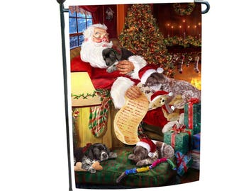 """German Shorthaired Pointer Dog and Puppies Sleeping with Santa Garden Flag 12 1/2""""W x 18""""H"""