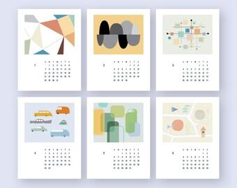 2018 Calendar PRINTABLE Mid century art Calendar US Letter, A4,  Wall decor Gift  (#012)