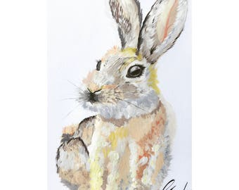 Rabbit Acrylic painting looks great in a nursery or a gift.