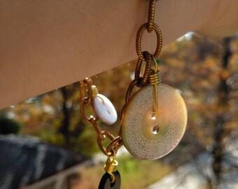 Vintage Abalone Button Charm Bracelet