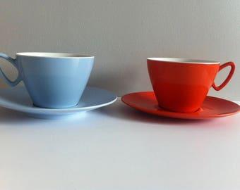 Vintage Gaydon Melamine cup and saucer, 1960's, orange, blue.