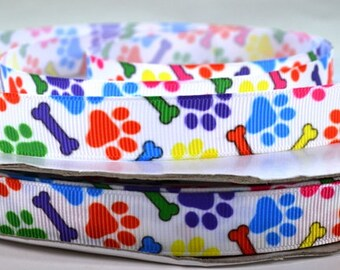 "5/8"" Paw Prints & Dog Bones -  Primary Colors -  Grosgrain Ribbon"