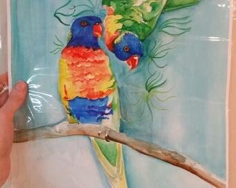 Print of Original Rainbow Lorikeet Watercolour Painting