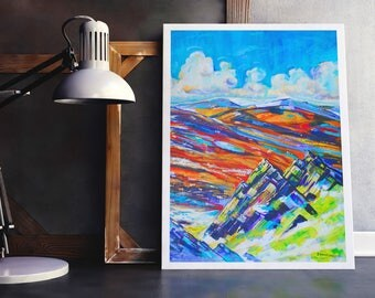 Preseli Hills Art Print, Preseli Landscape Art Print, Hand-embellished Landscape Art, Welsh Landscape Art Print, Colourful Moorland Art