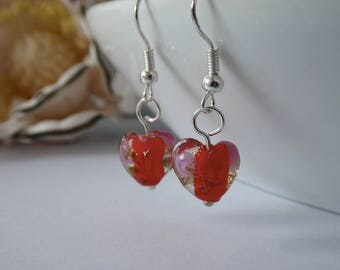 Red Glass Swirl Heart Silver Plated Fish Hook Earrings - Birthday/Wedding/Mother's Day Gift