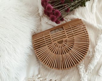 PREORDER - Ark Bag 100% Bamboo Structural Summer  Straw bag : Baskets Backpack French market basket, Beach Bag, Straw bag